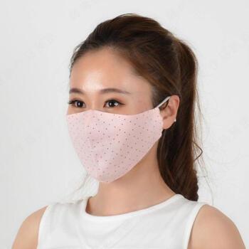 夏の薄手タイプ3 d立体个性マスク女性骑行pm 2.5防塵スモッグ通気性のある日焼け止めマスク小点-ピンク